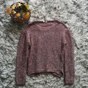 Burgandy twill knit sweater by Moth